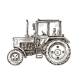 Farm tractor sketch Hand drawn vector image vector image