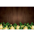 fir branch with golden christmas balls and neon vector image vector image