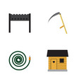 flat icon farm set of hosepipe barbecue cutter vector image vector image