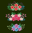 flowers and leafs set decorative with black vector image