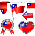 Glossy icons with Taiwanese flag vector image
