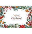 greeting card template with merry christmas vector image vector image
