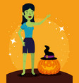 halloween card with pumpkin and frankenstein woman vector image