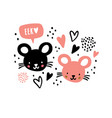 hand drawn mouses faces with speech bubble eek vector image vector image