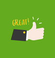 hand thumps up vector image vector image
