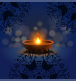 happy diwali background burning candle on dark vector image
