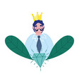 happy fathers day dad with moustache crown and vector image