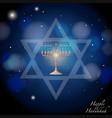 happy hanukkah with jews symbol and lights vector image vector image
