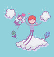 happy valentines day cute boy in love and cupid vector image vector image