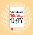 international literacy day event name on the vector image
