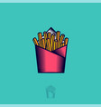 logo french fries fried potato fast food bisro vector image