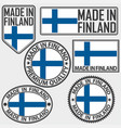 made in finland label set with flag made in vector image