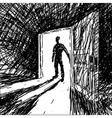 Man Enters Into Dark Room vector image vector image