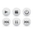 media glass buttons white audio or video shiny 3d vector image vector image