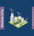 module isometric city houses vector image vector image