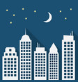 paper urban night landscape with long shadows vector image vector image