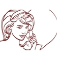 picture of beautiful woman with phone pin vector image vector image