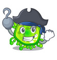 pirate character microbe bacterium on the palm vector image vector image