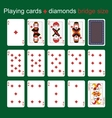 Playing cards Diamonds Bridge size vector image vector image