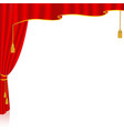 red curtain with a white background behind vector image
