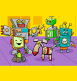 robot characters group cartoon vector image vector image