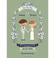 Rustic cartoon couple wedding card vector image vector image