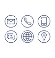 set minimalistic contact us icons on white vector image