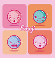 set of cute emojis vector image vector image