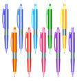 set of multi-colored pens on a white background vector image