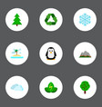 set of nature icons flat style symbols with spruce vector image vector image