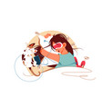 sleeping girl in bed vector image