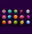 space planets fantasy galaxy cartoon universe vector image