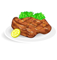 steak on a white plate vector image vector image