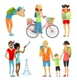 Traveling People Cartoon Set vector image vector image