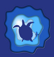 turtle silhouettes with fish paper art vector image