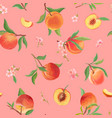 watercolor peach texture tropic fruits leaves vector image vector image