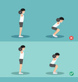 wrong and right squat posture vector image vector image