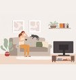 young woman watch tv girl lying on couch with vector image