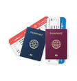 two passports with boarding passes realistic vector image