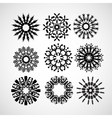 set of snowflakes on white vector image