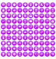 100 viral marketing icons set purple vector image vector image
