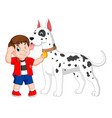 a boy with the red shirt is holding his big dog vector image vector image