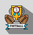 american football balls with prize cup and medal vector image vector image