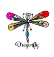 Art dragonfly sketch for your design vector image