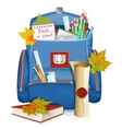 back to school school bag with education objects vector image