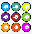 Ball cap icon sign Nine multi colored round vector image vector image