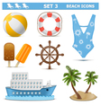 Beach Icons Set 3 vector image vector image