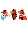 bull celebrating holiday wearing king costume vector image vector image