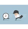 Business man run follow the clock vector image