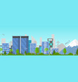 cartoon city panorama summer outdoor scene vector image